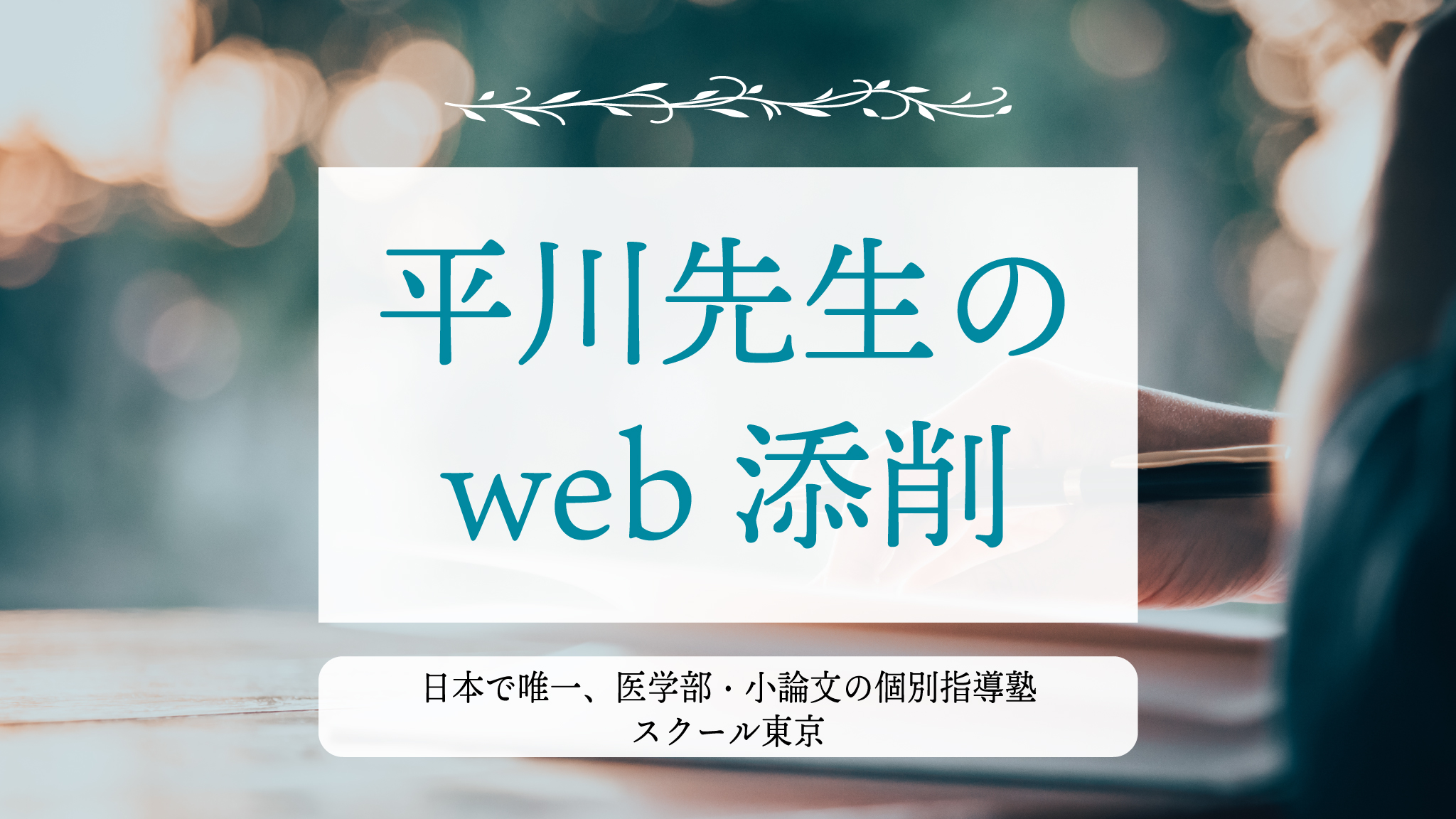 医学部受験|小論文|対策講座|平川先生のweb添削